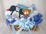 Welcome Baby Gift Basket Blue Bear And Mickey Mouse