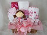 Welcome Baby Gift Basket Pink Cute Baby Girl