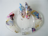 Hand Painted Wedding Set Glasses And Plate Butterflies