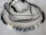 Natural Stones Necklace And Bracelet Set In White, Gray And Blac