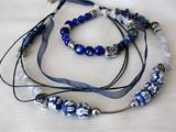 Natural Stones Necklace And Bracelet Set In Ocean Blue And White