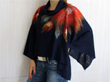 Blue Poncho-Scarf Tricot Fall/Spring Polo-Neck Wool Decoration