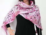 Designer Silk and Merino Scarf In White And Shades Of Pink