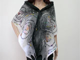 Designer Wool Merino Scarf In Black and White