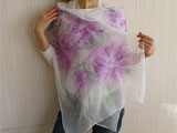 Designer Silk Merino Scarf In White And Lilac