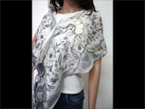 Handmade Felted Scarf in White, Black and Gray