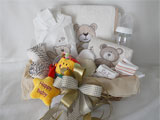 Baby Gift Basket Teddy Bear In Ecru