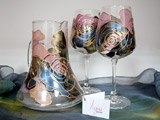 Hand Painted Glass Wine Set Intime 2