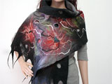 Designer Wool Merino Scarf In Black, Gray and Red