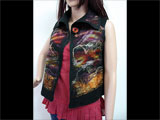 Nuno Felted Silk VEST Top BLACK