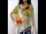 BEIGE Nuno Felted Silk Scarf Shawl Wrap RED GREEN Leaves