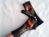 BROWN Felted Wool Fingerless Gloves Mittens Leaves