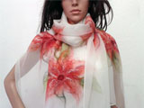 Nuno Felted Silk Scarf in White Red Flowers