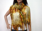 Nuno Felted Silk Scarf in Yellow and Green