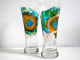 Hand Painted Beer Glasses Peacocks