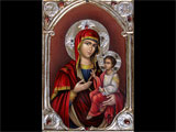 Icon Of Virgin Marry - With Lining And Agates